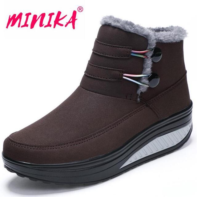 Minika 2017 Winter Shoes Woman Platform Boots Keep Warm Snow Boots Spli-On Cotton Ankle Boots Women Plus Plush  Women's Shoes