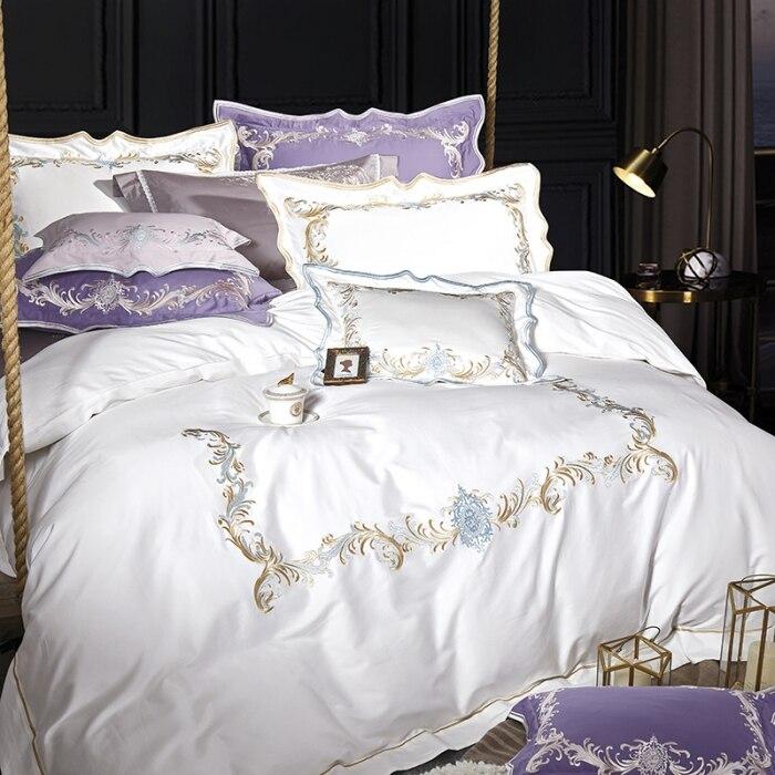 2018 literie de luxe couleur blanche satin ensemble de literie reine roi 4/7 pièces housse de couette ensemble couvre-lit ensemble de draps