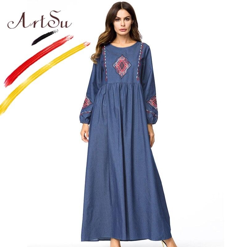 ArtSu Women Retro Ethnic Long Dress M 4XL Plus Size Geometric Embroidery Loose Casual Denim Long Sleeve Maxi Dress Autumn Robe
