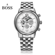 BOSS Germany watches men luxury brand skeleton Malibu series three hollow automatic mechanical watch silver relogio masculino