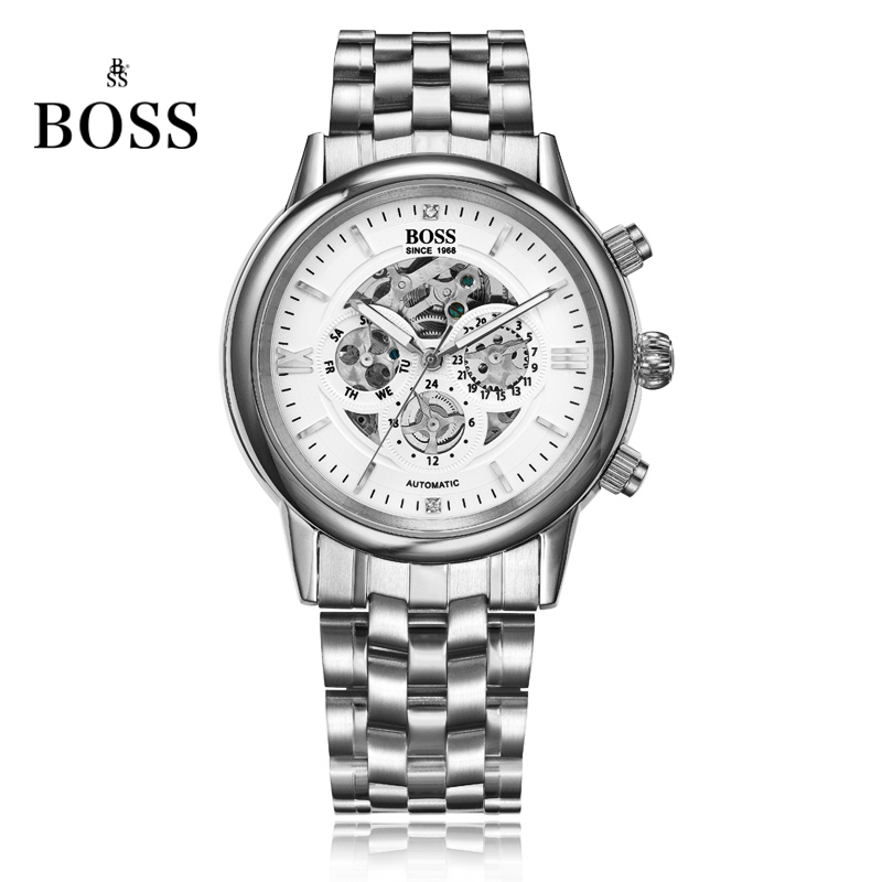 BOSS Germany watches font b men b font luxury brand skeleton Malibu series three hollow automatic