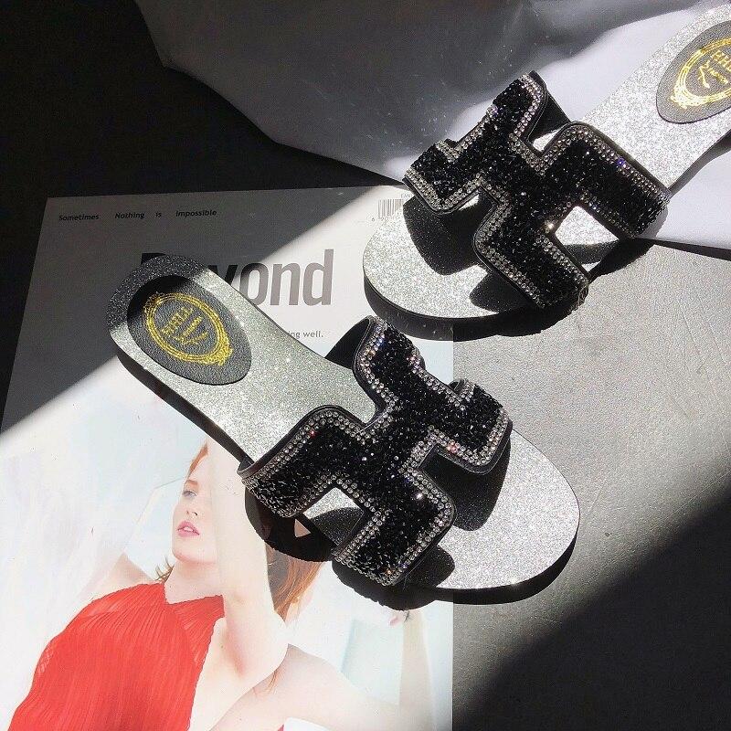 Phyanic бренда слайды Для женщин тапочки 2018 лето кристалл обувь подвергается носком H плоская подошва женские домашние тапочки плоской подошве...