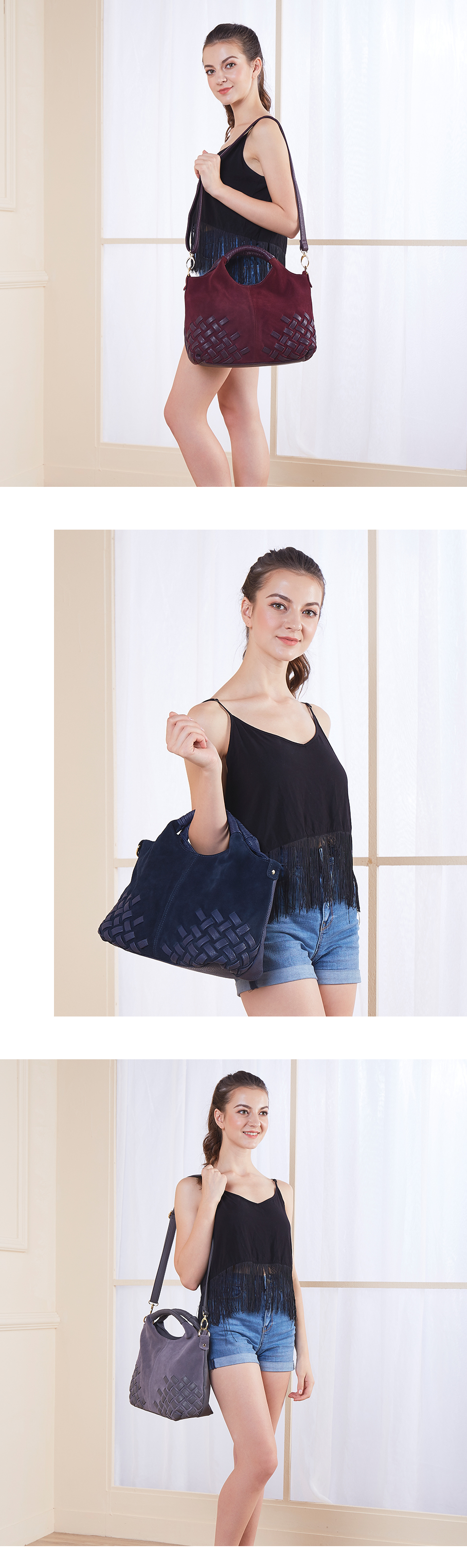 HTB1hXLdXaagSKJjy0Fgq6ARqFXal - Latest Women Weave Suede Split Leather Handbag Female Leisure Casual Lady Crossbody Shoulder Bag Messenger Top-handle Bags Sac