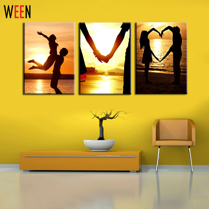 ộ_ộ ༽3 Panels Art Picture Sets Romantic Lover Wall Art Wall ...