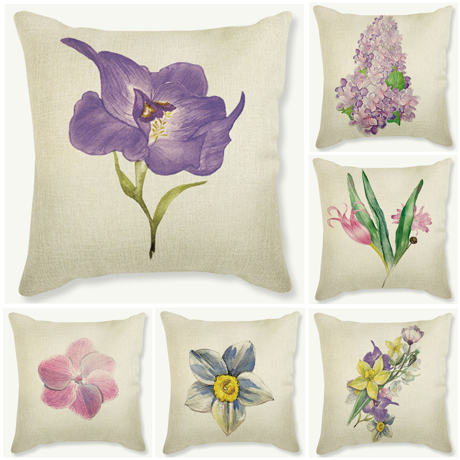 purple flowers cushions cover home decor pillows new design cotton linen cecorative throw pillows decor