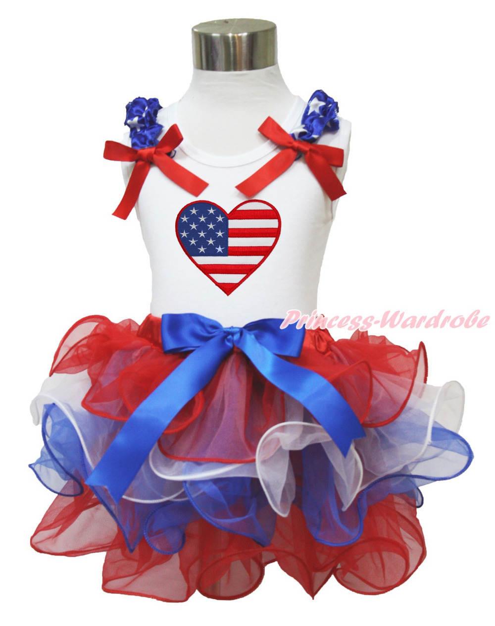 4th July USA Flag Heart White Long Sleeves Pettitop Red White Blue Petal Pettiskirt NB-8Y MAMH221 4th july america flag style stripe pettiskirt white ruffle tank top 2pc set 1 8year mamg1143