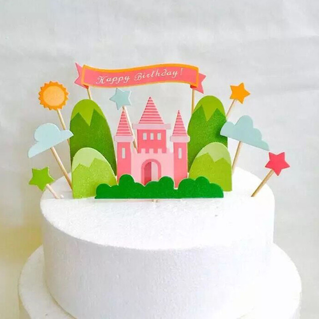 pink castle with star cupcake topper happy birthday cake topper wedding childrens birthday party decor cake