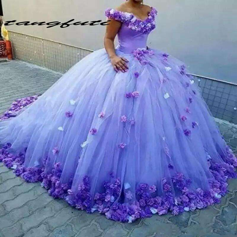 Ball Gown Quinceanera Dresses Purple Handmade Flowers Bridal Dress Off The Shoulder Sweet 16 Dresses vestidos de 15 anos