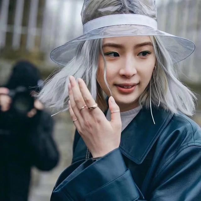 ROSELUOSI mujeres sombrero de Verano Sombreros de Pvc plástico transparente  moda sombrero Sombreros Mujer Verano ad2694d7cb2