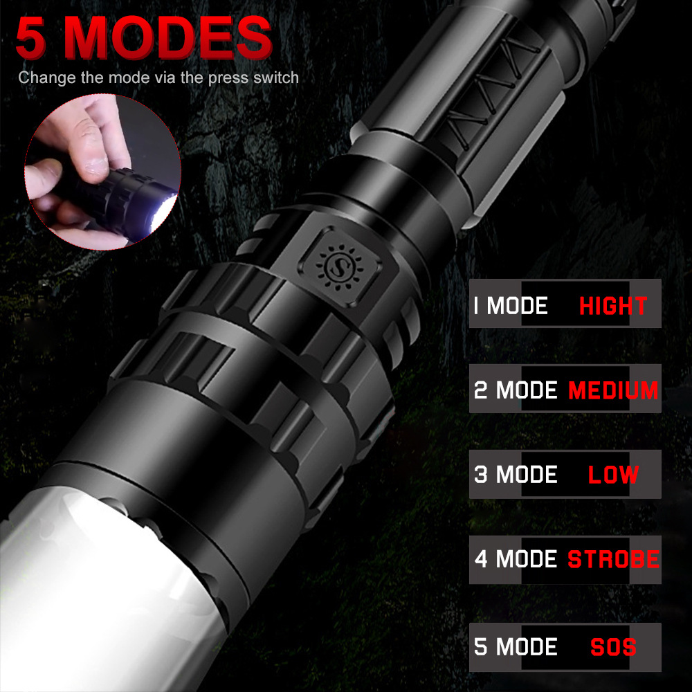 6000LM LED T6 Tactical Flashlight Super Bright USB Rechargeable Torch Gun clip Hunting light Waterproof for 18650 battery