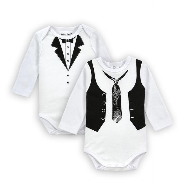 2 CONJUNTOS Cavalheiro Roupas de Bebê Menino Roupas Macacão de Bebê Macacão de Manga Longa de Casamento Branco Newborn Próxima Bebê Macacão Corpo