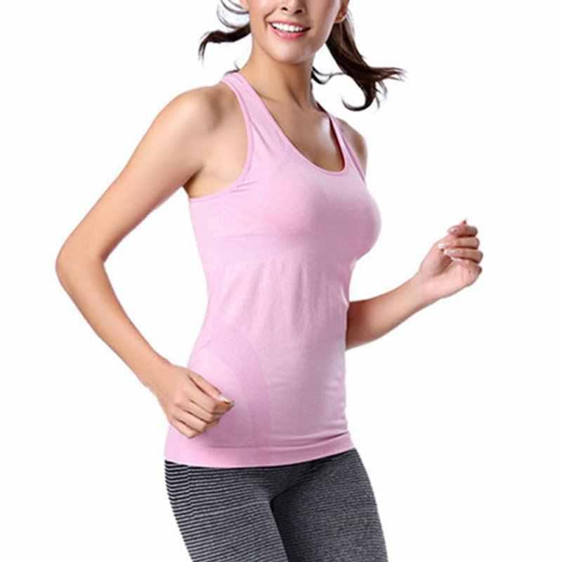 النساء الرياضة سريعة الجافة اللياقة البدنية الفانيلة سترة تنفس سترة الملابس قميص تشغيل بلا أكمام