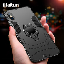 iHaitun Luxury Ring Holder Case For iPhone XS MAX XR Cases Armor Military Protector Back Cover For iPhone X 7 8 Plus Phone Cases(China)