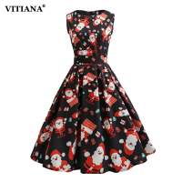 Women Christmas Dress Female Elegant Sleeveless Knee Length Black Print Vintage Party Casual Dresses Cute New