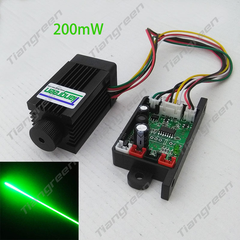Focusable 532nm 200mW Green Laser Module Diode Dot DC12V with TTL Cooling Fan 12 70mm 10mw 30mw 50mw 100mw 150 200mw 532nm green dot line cross focusable laser diode module