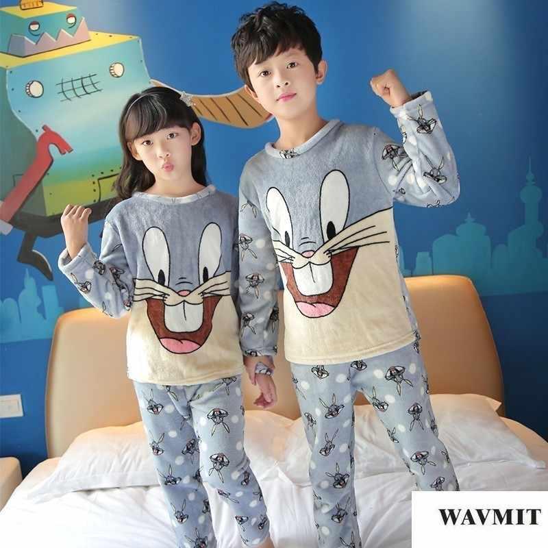 f352ae717471 Осень-зима Детские флисовые пижамы теплая фланелевая одежда для сна Обувь  для девочек Loungewear коралловый