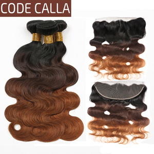 Code Calla Ombre Color Body Wave Bundles With 13*4 Frontal Brazilian Raw Virgin 100% Human Hair Bundles With Lace 13*4 Closure