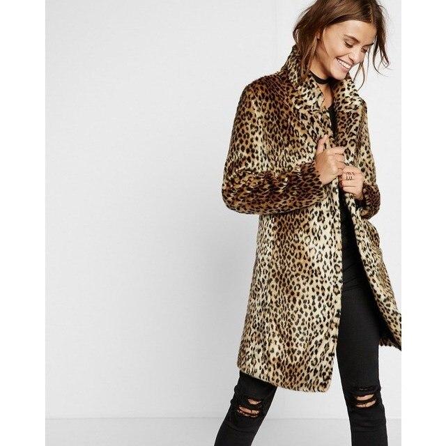 79d3981e63a Women Winter Plus Size Coat Overcoat Brown Leopard Coats Warm Fake Fur Long  Coat