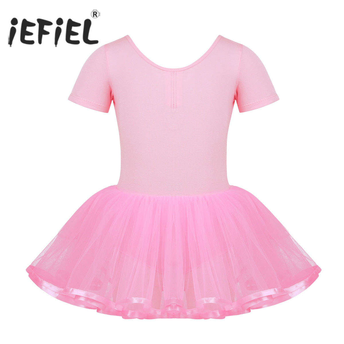 Kids Girls Dance Class Dress Cotton Top Bodice Bowtie Back Ballet Dance Gymnastics Exercise Leotard Tutu Dress for Performance
