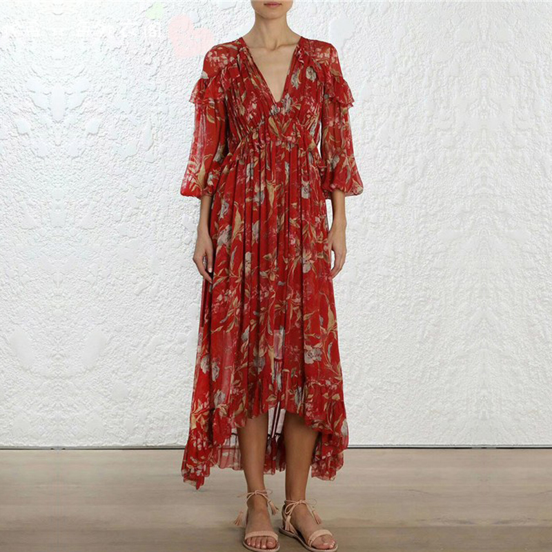 Top Quality Runway Designer Ruffles Floral Print Sexy V Neck Pure Silk Red Elegant Woman Long