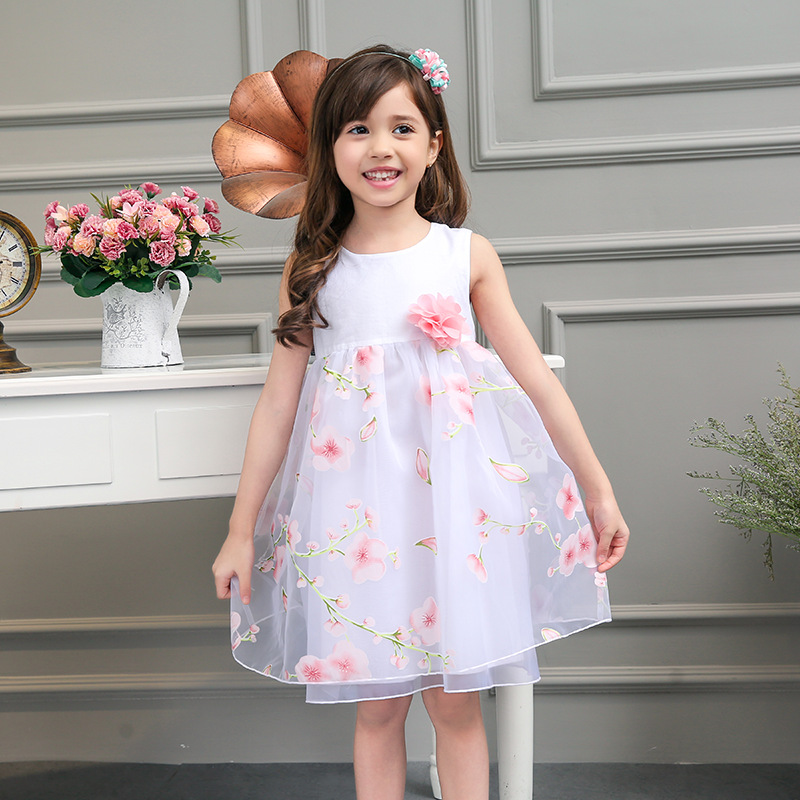 2016 Baby Girls New Summer Floral Print Mesh Princess Dresses Flower Girl Wedding Party Dress Kids Tutu Dress Children Clothes