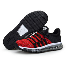 Air Women Running Shoes for Men Mesh Unique Shoe Tongue Athletic Trainers Black Breathable Sports Shoe Cushion Sneakers 8(China)