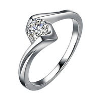 18K White Gold Elegant Jewelry 1Ct 6.5mm Round Cut Moissanites Twist Arm Ring Engagment Ring Fine gold jewelry For Women