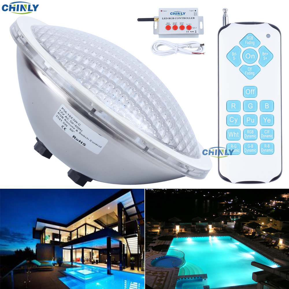 AC12V Par56 25W RGB Remote Swimming LED Pool Lights Bulb Underwater Lights Energy Saving 95% Warranty 2years