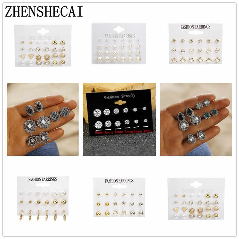2019 EARRINNG SET for women crystal pearl ear jewelry simple fashion KOREAN EARRINGS for girl gift Brincos wholesale