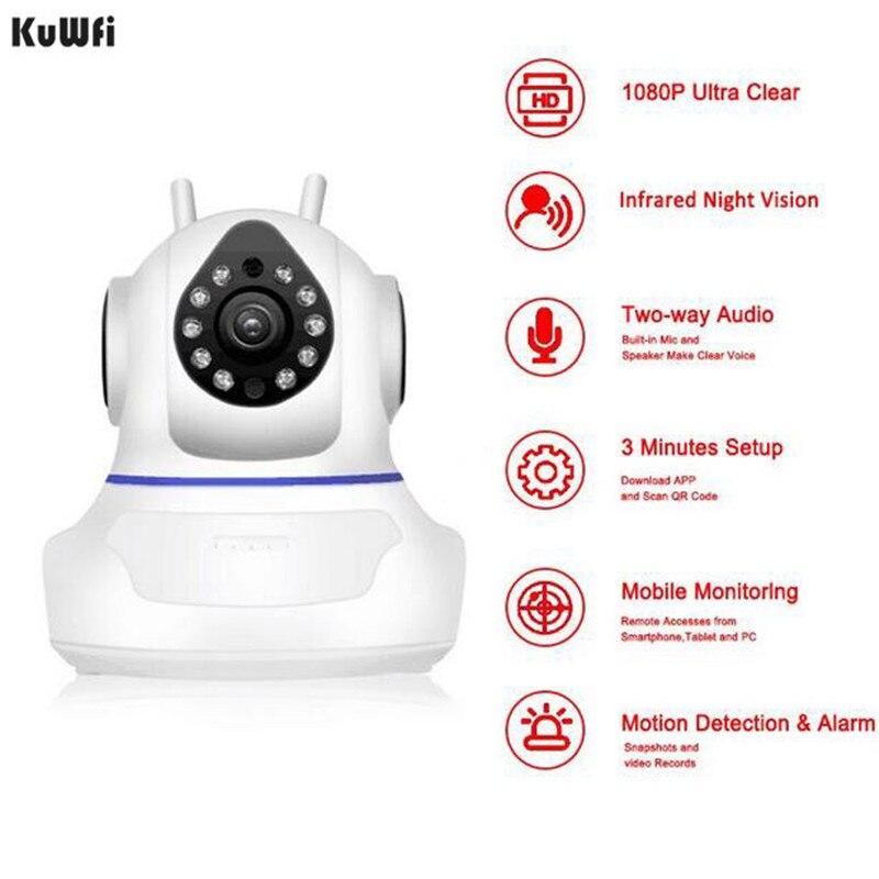 KuWFi Baby Monitor Bebek Telsizi 1080P WiFi Home Surveillance Camera Network Wireless Wifi Night Vision CCTV