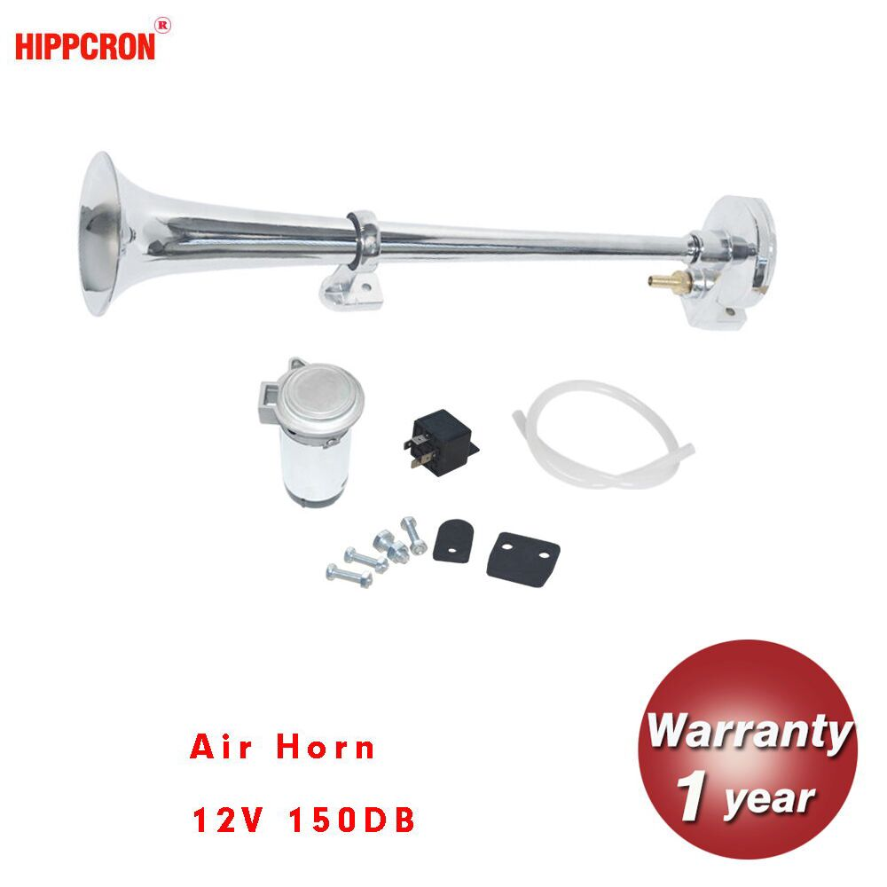 hippcron 150DB 12V Air Horn Super Loud Single Trumpet Compressor Complete Set for Trucks Cars Automobiles Lorry Boat Train 125mm electric air horn 12v loud chrome color aluminum coil vehicles cars trucks motorcycles for kawasaki z750 for ford f 150