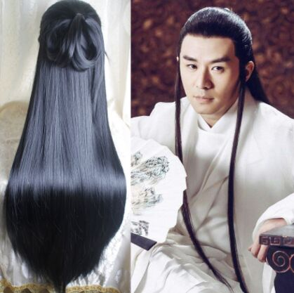 Boys Costume Accessories 80cm Black Long Vintage Hair Chinese Ancient Dynasty Hair Cosplay Ancient Chinese Hair Anime Long Hair Warrior Cosplay Novelty & Special Use