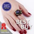 2017 New Elegant Jewellery Ring with Pearl Multi color Black Jewellery Gold Unique Design Party Anniversary Gift Ring