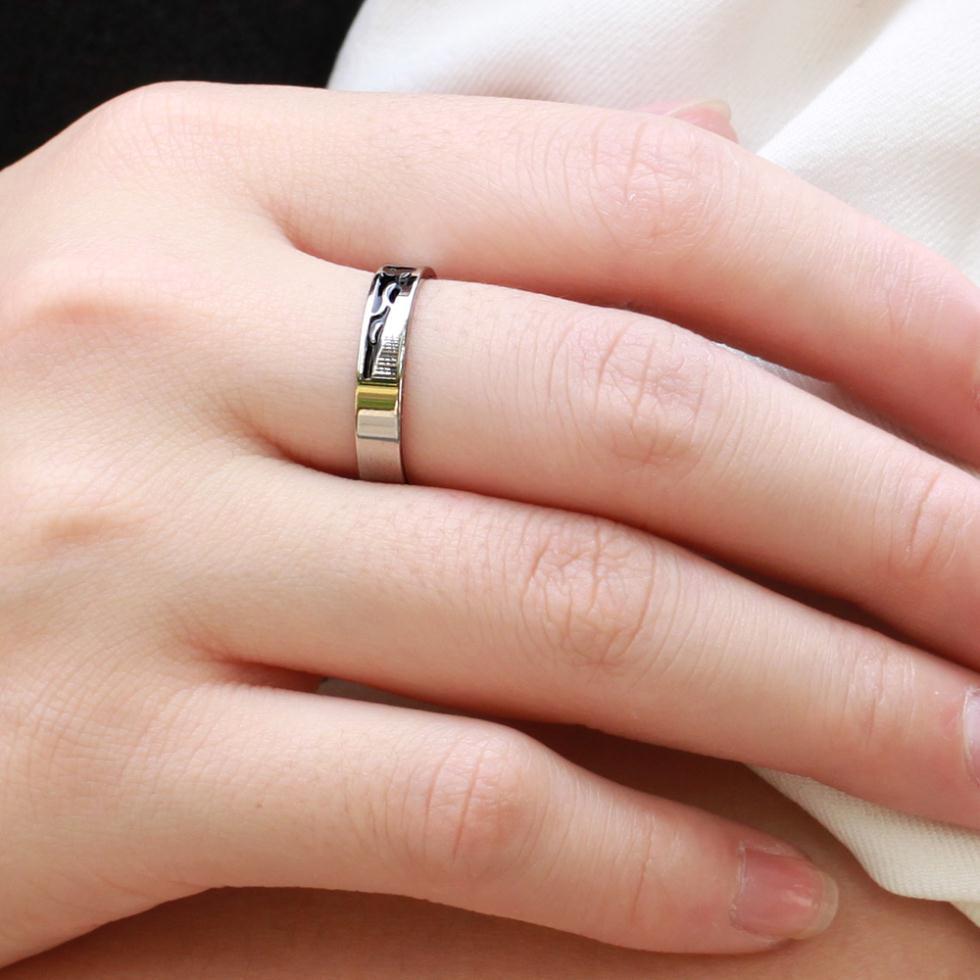 Titanium steel wedding rings for men women Couple love engagement ...