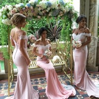 Pink Covered Button Lace Bridesmaid Gown Navy Blue/Peach/Ivory/Champagne/Silver/Yellow Satin Bridesmaid Dresses Fast Shipping