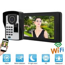 7 Inches Wired Video Doorbell Phone Fingerprint Password Remote Control Unlocking App