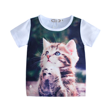 2017 Summer New style Kids T Shirts Baby boys girls clothing Short sleeve tops tees baby boy clothes T-shirt Cat Bear printed