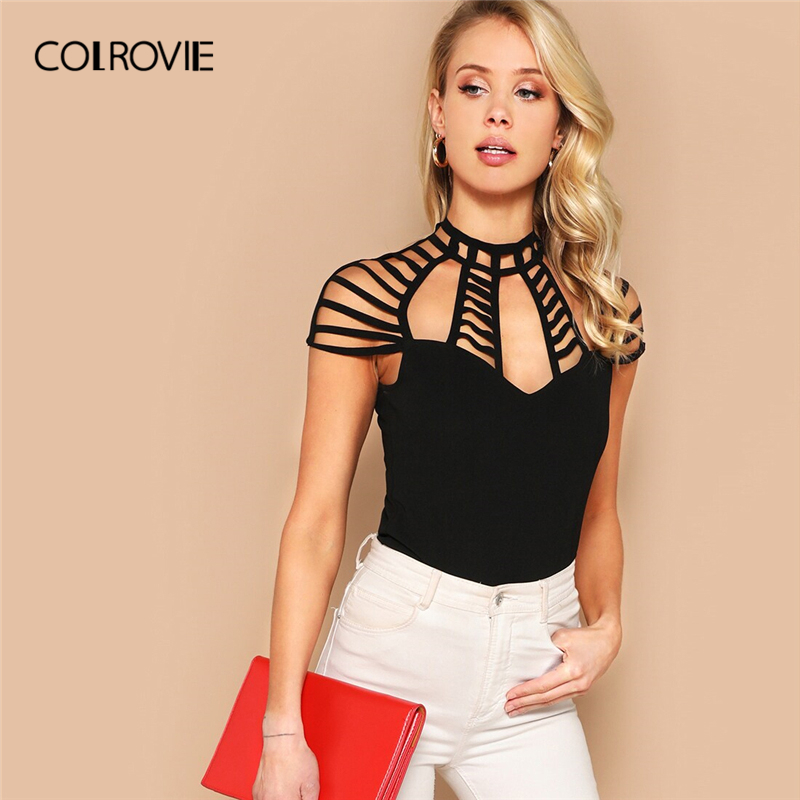 COLROVIE Black Caged Yoke Slim Form Fitting Sexy   Blouse     Shirt   Women Red Top 2019 Summer Pink Office Ladies   Blouses   White   Shirts