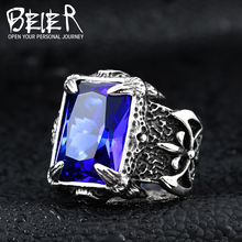 BEIER 316L Stainless Steel VIKING Red blue stone trend men's ring double-sided axe high quality jewelry dropshipping LLBR8-164R
