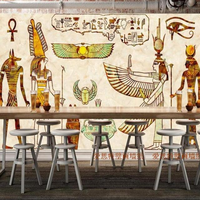 Free shipping 3d ancient egypt mural living room sofa tv for Egyptian wallpaper mural