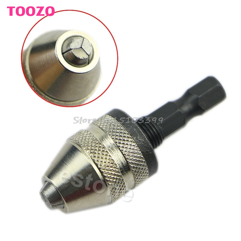 1/4 Keyless Drill Bit Chuck Hex Shank Adapter Converter 0.3mm-3mm Quick Change #G205M# Best Quality