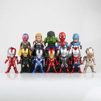 12pcs/lot The Avengers Miniatures Action Figures qversion PVC Captain America superman Toy Doll Christmas Gifts 9cmfree shipping
