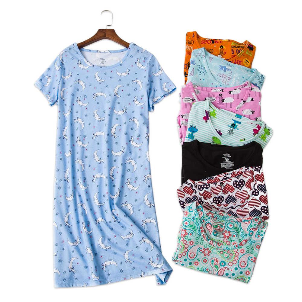daba9423fdba Sexy summer women nightdress home dress plus size loose short sleeve 100% cotton  sleepwear pyjamas