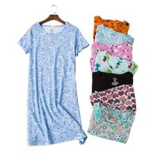 Sexy summer women nightdress home dress plus size loose short sleeve 100 cotton sleepwear pyjamas night
