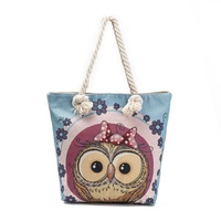 2017 Famous Brands Women Handbag Owl Animal Jacquard Weave Canvas Tote Female Casual Beach Bags Handbags