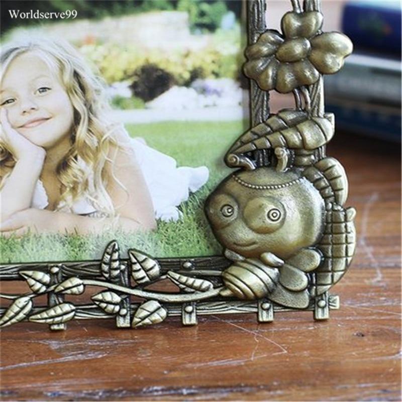 6 inch Vintage Glückliche Zeit Bilderrahmen Brief Metall Baby Kinder ...