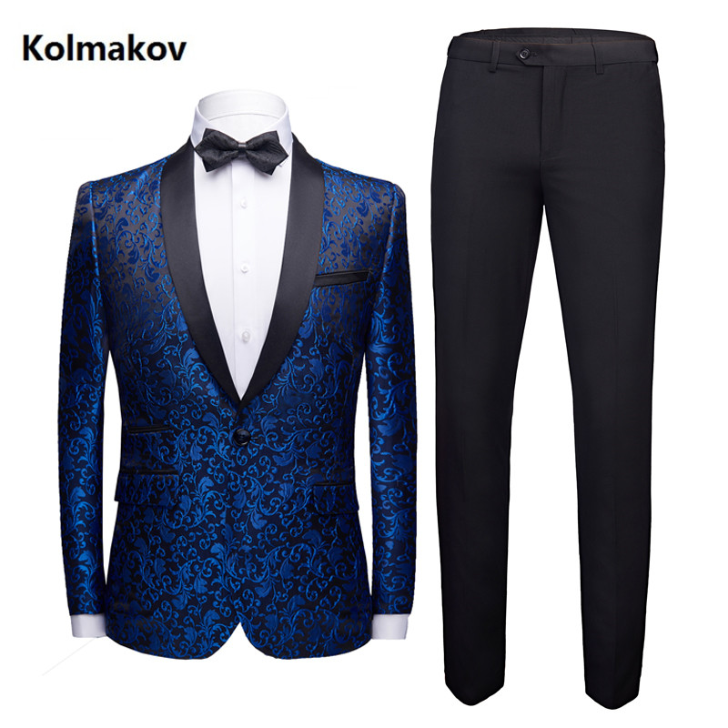 (Jacket +Pants) 2019 Spring New Style High Quality Men Fashion Casual Business Suits Men's Embroidery Suits Wedding Dress Suit M