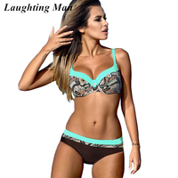 Laughting Man 2017 Sexy Print Patchwork Bathing Suit Women Swimsuit Biquini Push Up Swimwear Brazilian Bikini