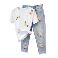 2017 Spring Summer New Casual Women 2 Pieces Pant Set Pink Floral Diamond T Shirt And