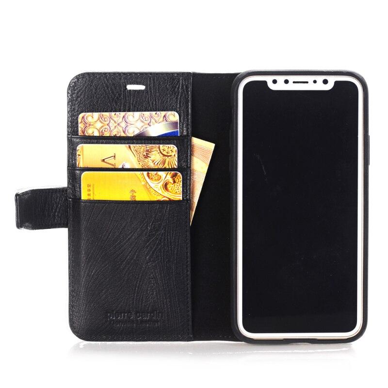 Pierre Cardin housse en cuir véritable pour étui iPhone X, étui magnétique à rabat pour livre support portefeuille porte-carte pour iPhone X Coque - 4